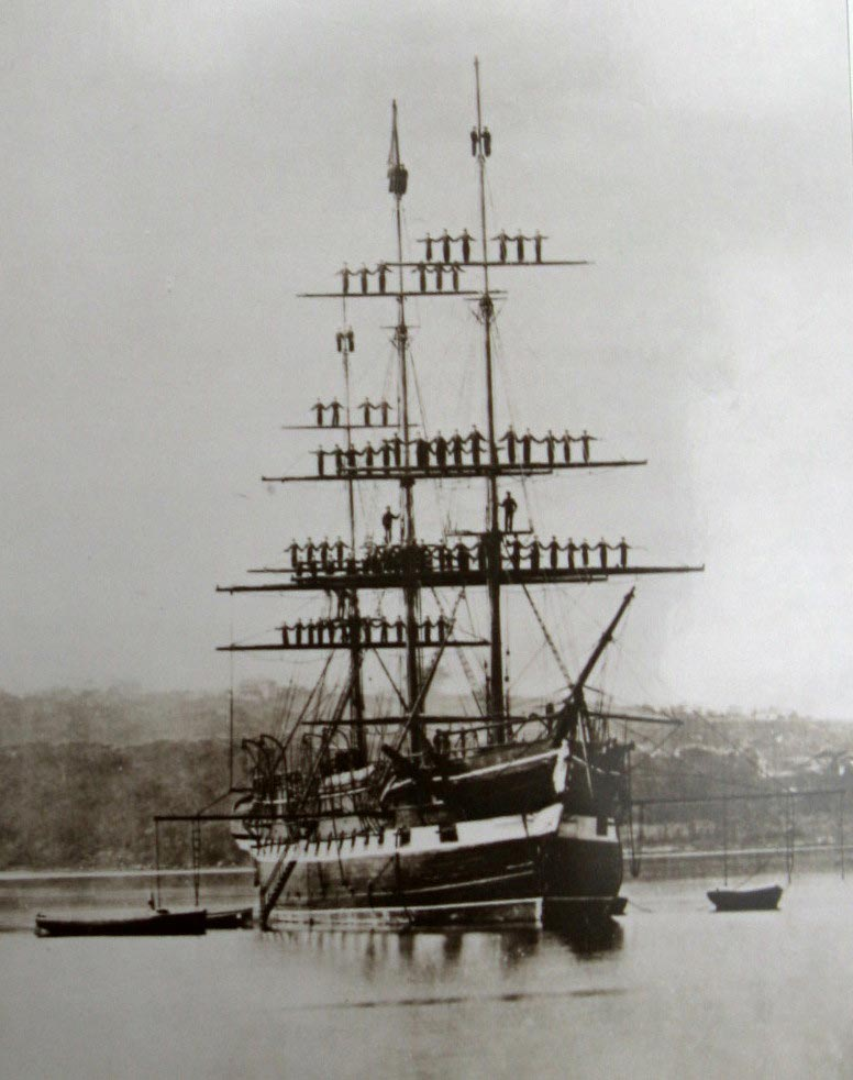 Nautical School Ship Vernon in Sydney Harbour. Image: ML SPF Ships/Vernon, 1876. Reproduction: Peter de Waal