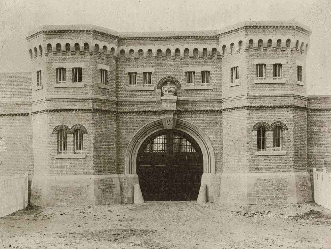 Grafton gaol entrance gate, prisoners transferred into it on 3 Nov 1893. Photo ID: SRNSW 4346_a020_a020000281.jpg