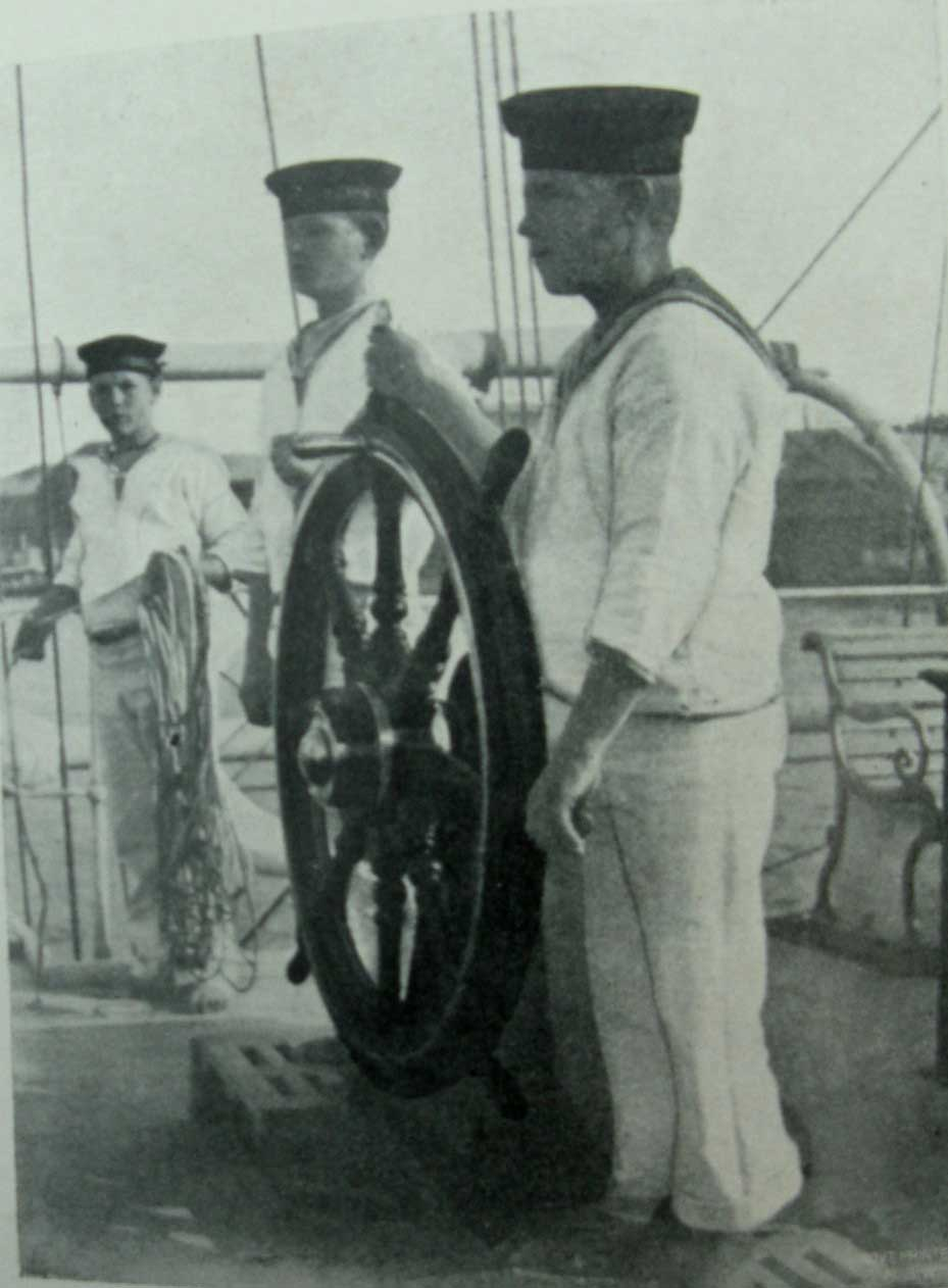 "At the helm of HMS Dart. ML: Q371.9305/1, Report of the Superintendent of the Nautical School-Ship ""Sobraon"" for the Year Ended, 30 Apr 1899. Reproduction: Peter de Waal"