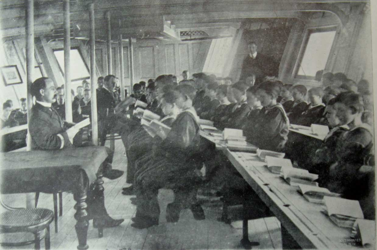 "Sobraon school room. ML: Q364/N, Report of the Superintendent of the Nautical School-Ship ""Sobraon"" for the Year Ended, 30 Apr 1906. Reproduction: Peter de Waal"