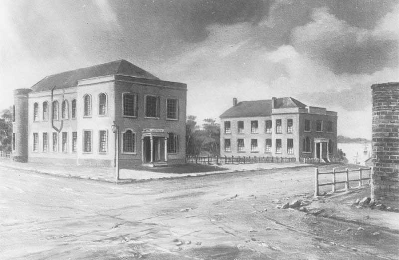 Photograph of - Sketch of Supreme Court and Police Office, Murray Street Hobart, 1838. Source: AOT PH30-1-631. Reproduction: Peter de Waal