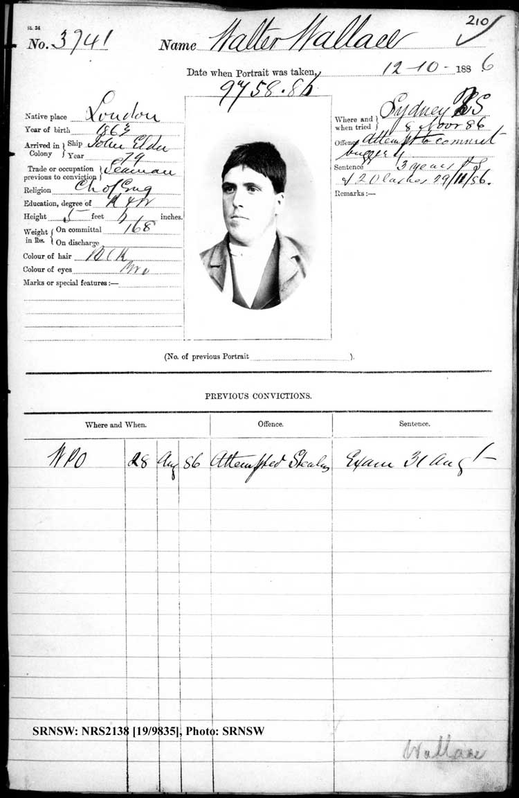 SRNSW: NRS2138, [19/9835], Darlinghurst Gaol photographic description book, 1886, No. 3741, p. 210, R5102.