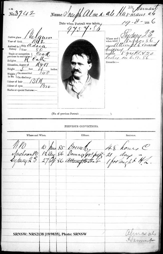 SRNSW: NRS2138, [19/9835], Darlinghurst Gaol photographic description book, 1886, No. 3742, p. 211, R5102.