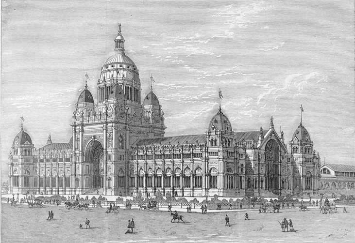 Prize design for the Melbourne International Exhibition Building, 8 Jun 1878. Image: Vic State Library collection. Reproduction: Peter de Waal